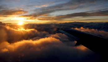 View of clouds out of an airplane over Wyoming